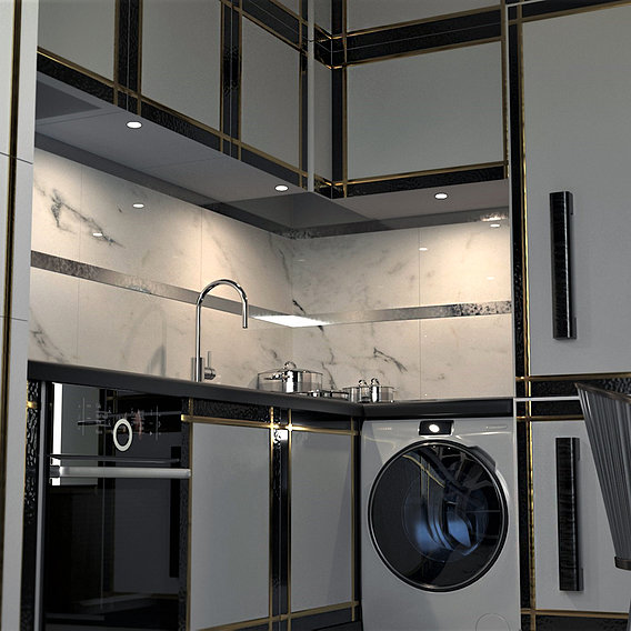 Art Deco style kitchen. Project. Visualization (render).