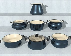 NONSTICK COOKING SET 3D asset VR / AR ready