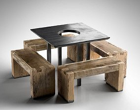 Tartinery Nolita Dining Tables and Benches 3D model