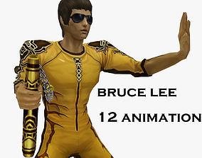Bruce Lee Kung Fu nunchukus fight 3D asset