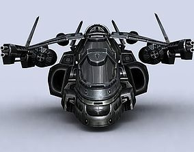 low-poly 3DRT - Sci-Fi Gunship 6