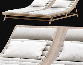 Double wooden outdoor chaise lounge L16 3D