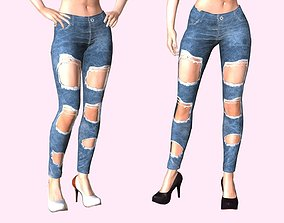 3D model animated VR / AR ready Distressed Jeans