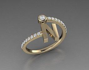 Jewelry Alphabet Diamond Ring N 3D printable model