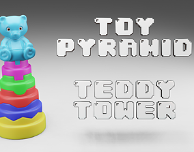 Toy Pyramid - Teddy Tower - Playset of 6 3D model