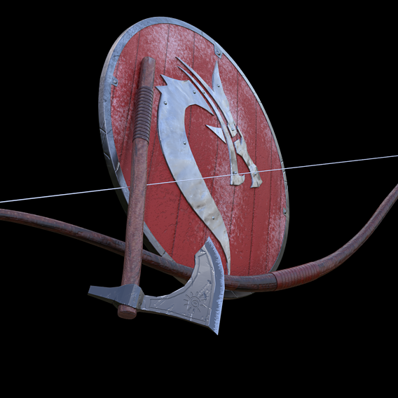 shield, ax and bow