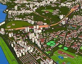 Seoul City South Korea Nov 2020 GIS model low-poly