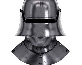 3D model Knight Sallet Helmet with Visor and Gorget