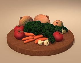 plate with vegetable 3D