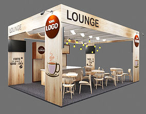 Booth coffe lounge and stall 3D