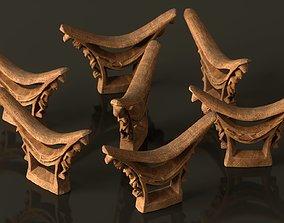 3D model Headrest Africa Wood Furniture Prop 44