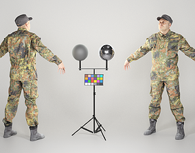 Soldier in German military uniform in A-pose 96 3D asset