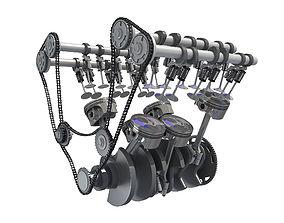 Rigged Animated V6 Engine 3D