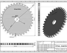 Original Size Gear Wheel 35 Tooth modul 5mm Ready for 3D