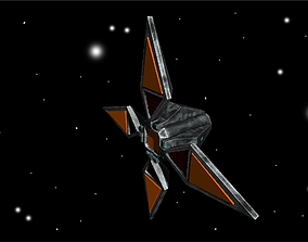 3D model low-poly Animated Four Winged Space Enemy