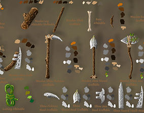 3D asset Craftable Primitive tools pack