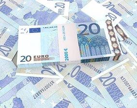 3D 20 euro banknote packs