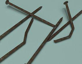 3D asset rusty Metal nail - PBR Game-Ready