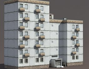 old-building 3D model game-ready Residential Building