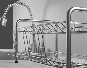 3D model kitchen sink with drainer