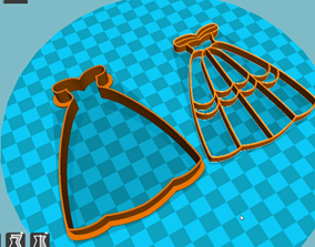 Stl file ball gown cookie cutter for printing on 3D