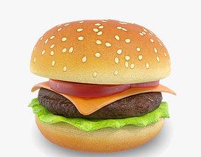 Cartoon Cheeseburger 3D asset