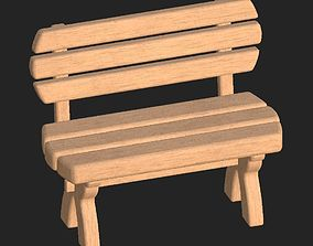 3D model Cartoon wooden bench 3