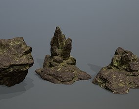 nature Rock Set 3D asset game-ready