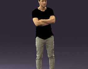 Man in black shirt white pants 0533 3D print model