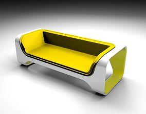 3D Yelow sofa