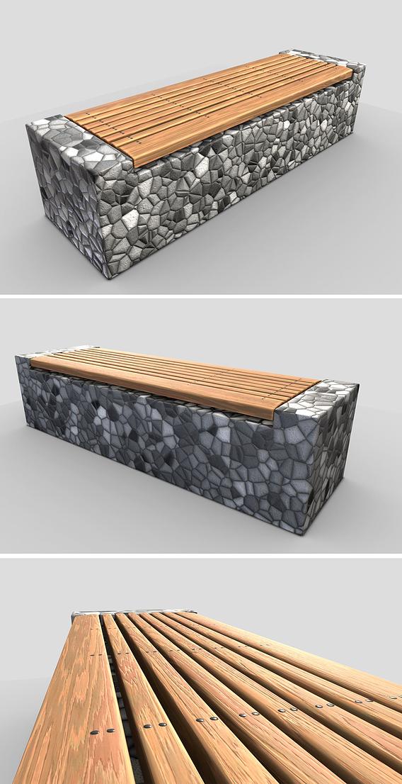 Bench -6- Wood on Mosaic Stone Block