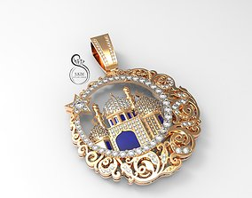 Pendant muslim mosque with gems and 3D printable model 1