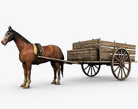 Wooden horse drawn cart 3D
