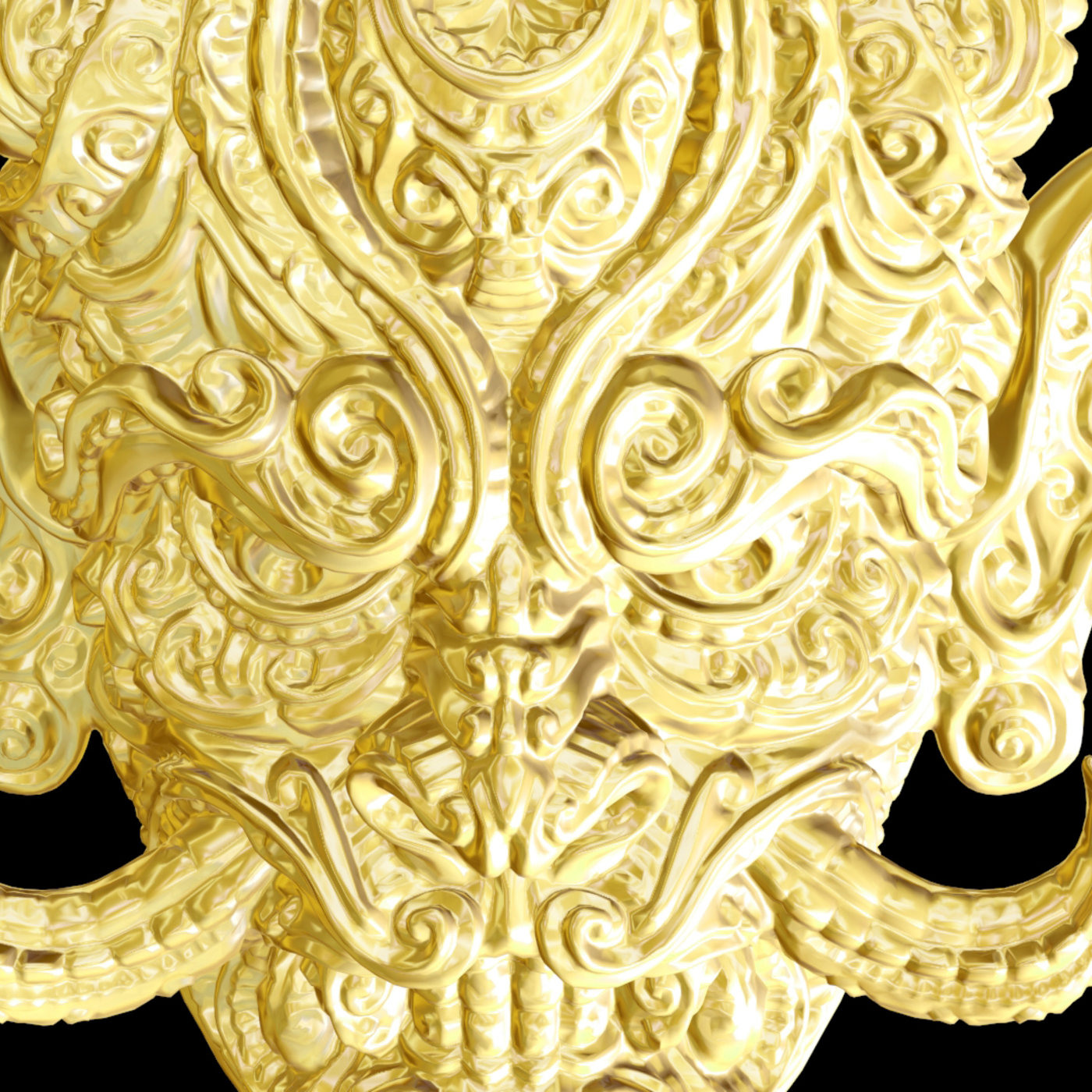 Dragon Chinese Sculpture pendant jewelry gold necklace