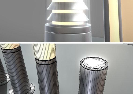 Street Lights (9) Light Columns High-Poly