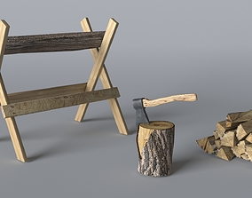 Wood Axe set 3D model