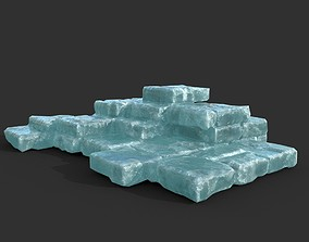 3D model Low poly Frozen Ice Ruin Medieval Construction 10