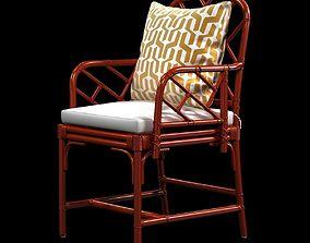 Ballard macau arm chair in deep coral 3D model