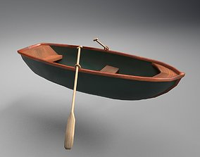 3D asset Rowboat with Oars -Classy Green