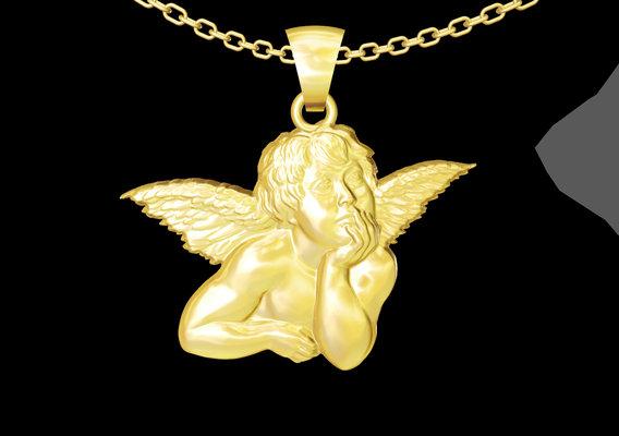 Teenage Angel medallion statue sculpture pendant jewelry gold 3D print model