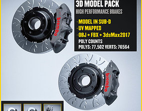 Brembo GTS Brakes Calipers Low-poly 3D model game-ready