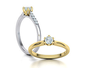 Classic Solitaire ring 4mm Stone Two Shank version
