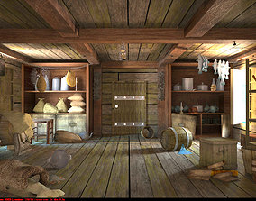 Warehouse provisions on pirate ship 3D model