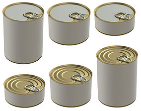 Canned food tin cans 3D model