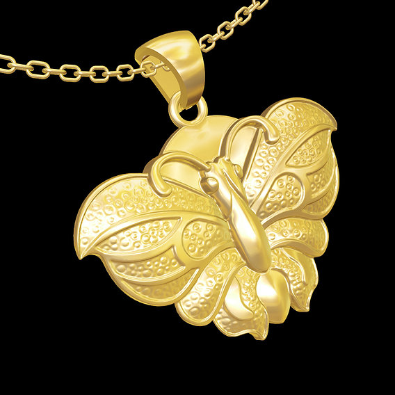 Butterfly moth pendant jewelry gold necklace medallion 3D print model