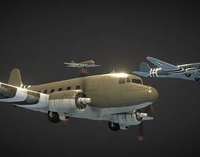3D model game-ready Douglas C-47 Skytrain