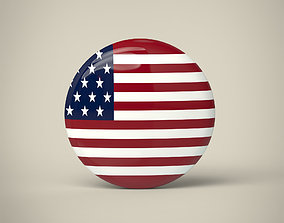United States of America Badge 3D asset
