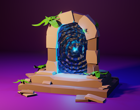 3D model Low poly portal to the magic world