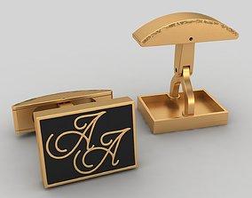 Double A Letter Gold Enamel Cufflinks 3D print model