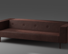 Modern Sofa scanline 3D asset low-poly